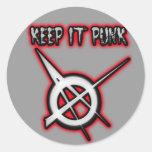 KEEP IT PUNK guys girls Punk Music Classic Round Sticker