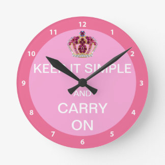 Keep it Simple and Carry On Round Wall Clock