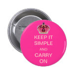 Keep it Simple and Carry On Pink Crown Buttons