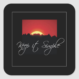 Keep it Simple Recovery, Sunrise, Black Recovery Square Sticker