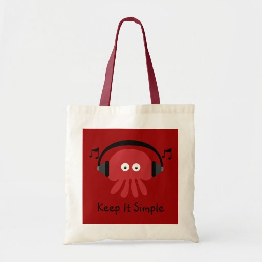 Keep It Simple Red DJ Jellyfish Customizable Tote Bags