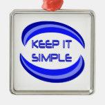 keep it simple square metal christmas ornament
