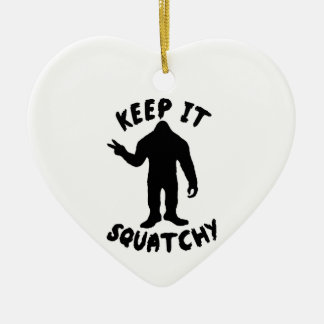 Keep it Squatchy Double-Sided Heart Ceramic Christmas Ornament
