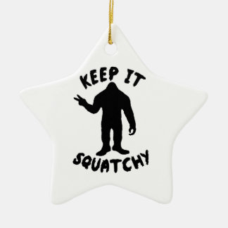 Keep it Squatchy Double-Sided Star Ceramic Christmas Ornament