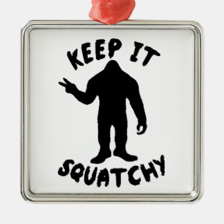 Keep it Squatchy Square Metal Christmas Ornament