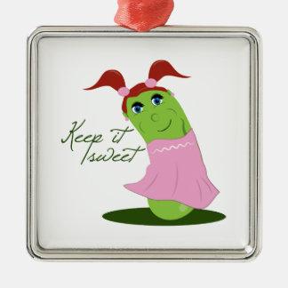 Keep it Sweet Square Metal Christmas Ornament