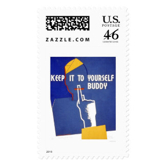 Keep It To Yourself WWII 1942 WPA Stamp