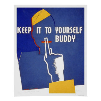 Keep It To Yourself WWII 1942 WPA Print
