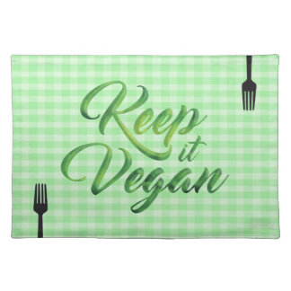 Keep it Vegan Happy quote - forks Cloth Placemat
