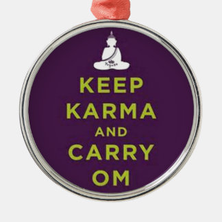 Keep Karma and Carry Om Round Metal Christmas Ornament
