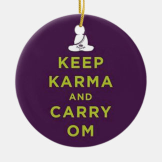 Keep Karma and Carry Om Double-Sided Ceramic Round Christmas Ornament