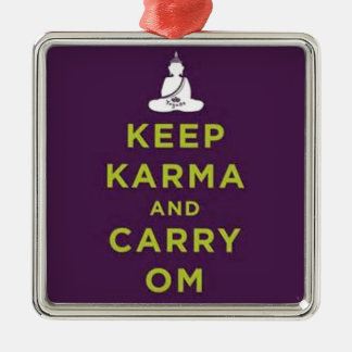 Keep Karma and Carry Om Square Metal Christmas Ornament