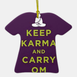 Keep Karma and Carry Om Double-Sided T-Shirt Ceramic Christmas Ornament