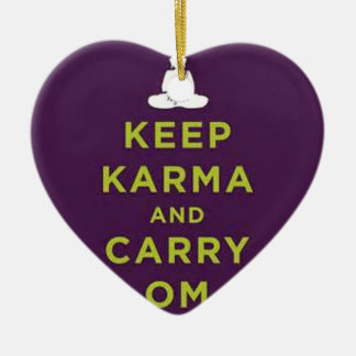 Keep Karma and Carry Om Double-Sided Heart Ceramic Christmas Ornament