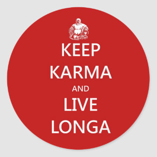 keep karma and live longa classic round sticker