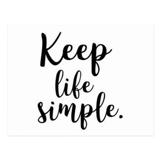 Keep Life Simple Postcard