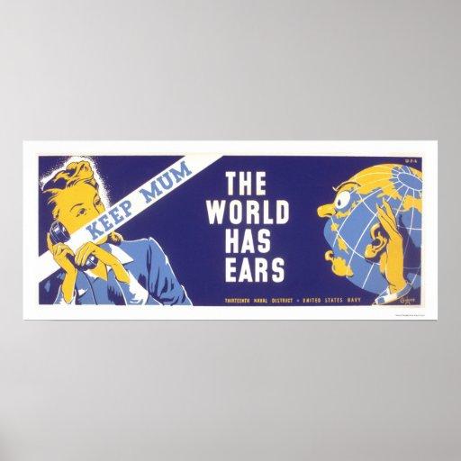 Keep Mum - The World Has Ears WPA Poster
