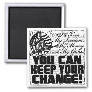 Keep My Freedom. Money and Guns 2 Inch Square Magnet