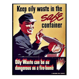 Keep Oily Waste In The Safe Container Postcard