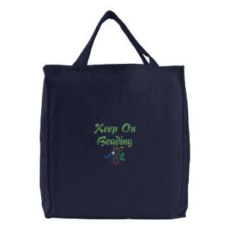 Keep On Beading Embroidered Tote Bag