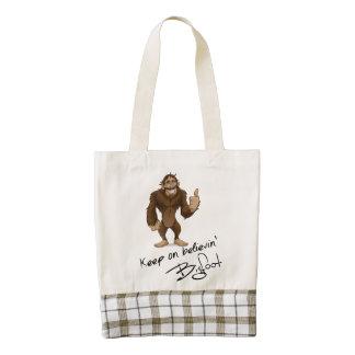Keep On Believin' Bigfoot Autograph Zazzle HEART Tote Bag
