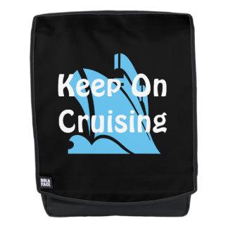 Keep On Cruising Aqua on Black Backpack