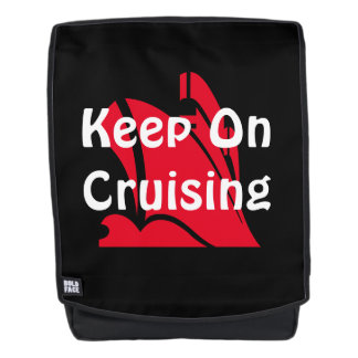Keep On Cruising Red on Black Backpack