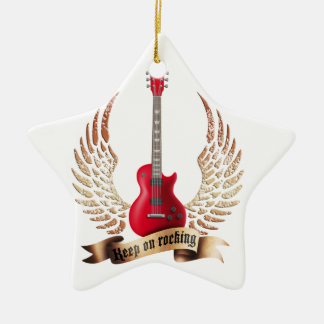 keep on rocking electric guitar wings ceramic ornament