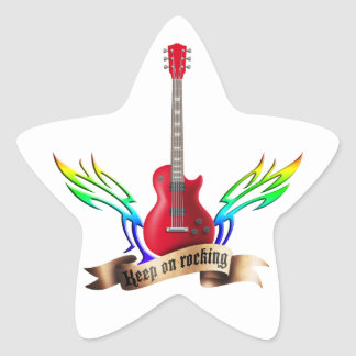keep on rocking electric guitar wings stickers