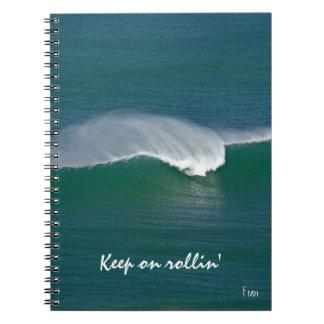 keep on rollin' spiral notebook