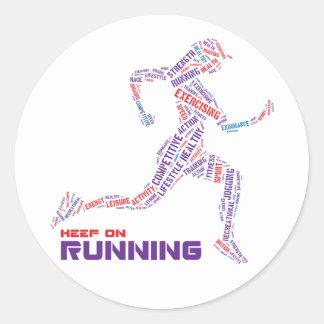 Keep on running classic round sticker