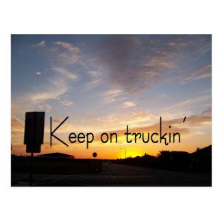 Keep on Truckin' Sunset Postcard