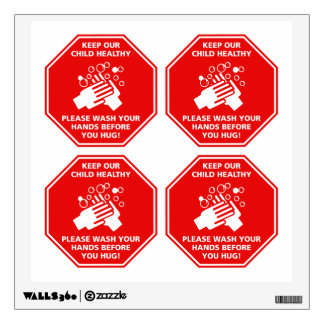 Keep Our Child Healthy Door Decal Stop Sign Red