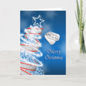 Keep our troops safe Christmas (blue) Cards
