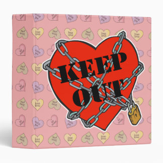 keep out chained heart 3 ring binder