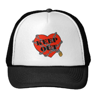 keep out chained heart trucker hat