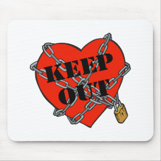 keep out chained heart mouse pad
