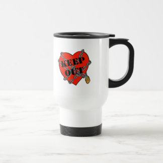 keep out chained heart 15 oz stainless steel travel mug