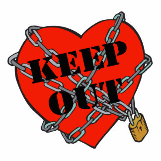 keep out chained heart standing photo sculpture