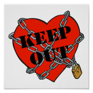 keep out chained heart posters