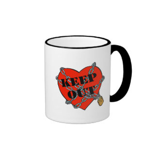 keep out chained heart ringer coffee mug