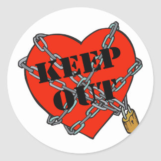 keep out chained heart classic round sticker