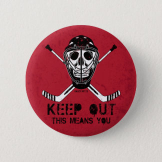 Keep Out Hockey Goalie Flare Pinback Button