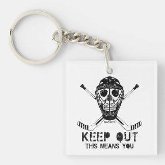 Keep Out Hockey Goalie Keychain