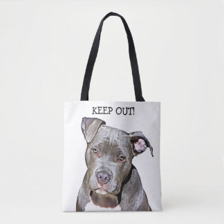 KEEP OUT PITBULL DOG FUNNY TOTE BAG