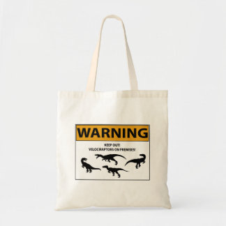 Keep Out! Velociraptor Sign Tote Bag