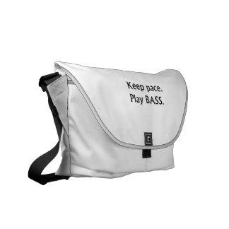 Keep pace Play Bass black text design Courier Bag