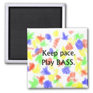 Keep pace Play Bass black text design Magnet