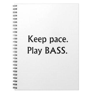 Keep pace Play Bass black text design Notebook