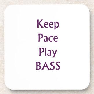 Keep pace Play bass purple text Coaster